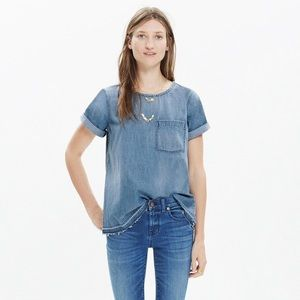 Madewell Denim Tee w/ Raw Hem in Edna Wash